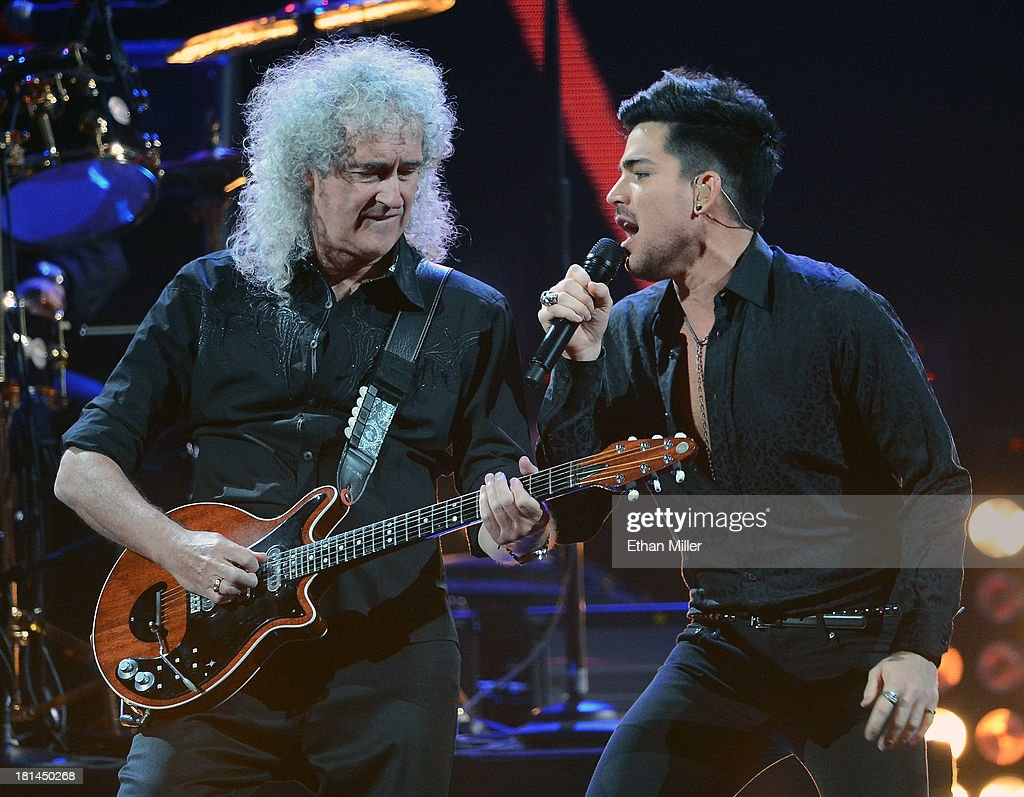 Guitarist <a gi-track='captionPersonalityLinkClicked' href=/galleries/search?phrase=Brian+May&family=editorial&specificpeople=158059 ng-click='$event.stopPropagation()'>Brian May</a> (L) of Queen and singer <a gi-track='captionPersonalityLinkClicked' href=/galleries/search?phrase=Adam+Lambert&family=editorial&specificpeople=5706674 ng-click='$event.stopPropagation()'>Adam Lambert</a> perform during the iHeartRadio Music Festival at the MGM Grand Garden Arena on September 20, 2013 in Las Vegas, Nevada.