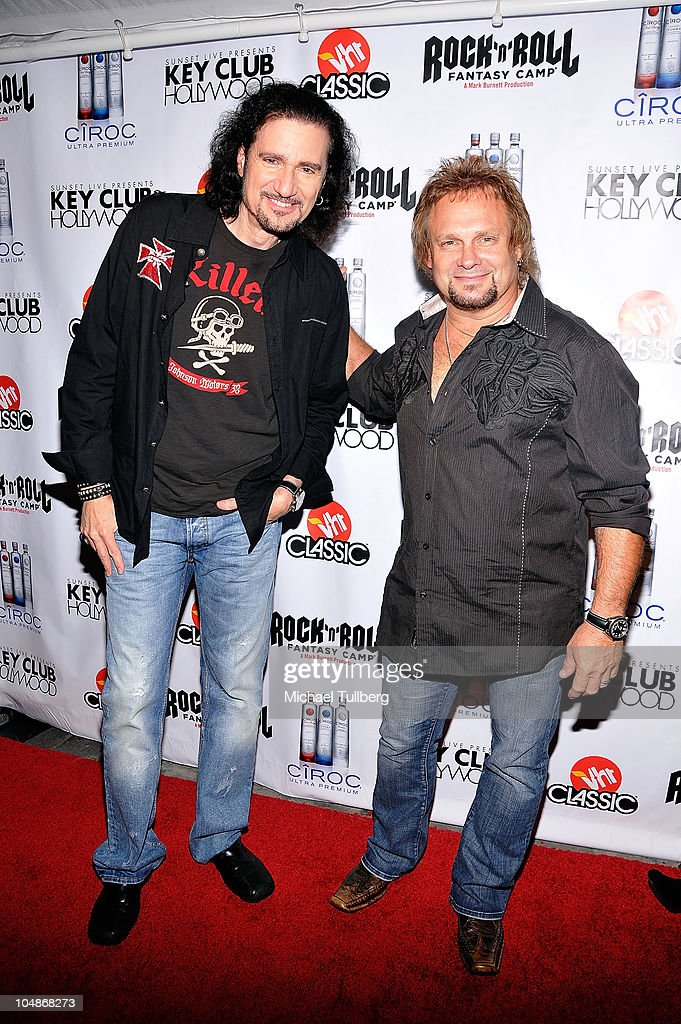 KISS guitarist Bruce Kulick and Chickenfoot bassist <a gi-track='captionPersonalityLinkClicked' href=/galleries/search?phrase=Michael+Anthony&family=editorial&specificpeople=790579 ng-click='$event.stopPropagation()'>Michael Anthony</a> arrive at the premiere party for VH1 Classic's 'Rock 'N' Roll Fantasy Camp' TV show on October 5, 2010 in Los Angeles, California.