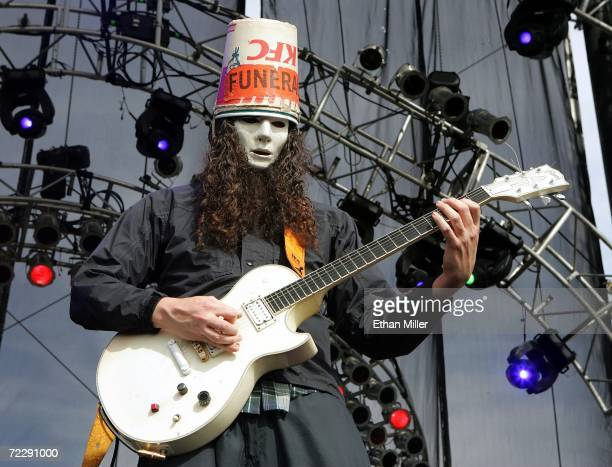 Guitarist Buckethead performs with the band Praxis at the Vegoose music festival October 28 2006 in Las Vegas Nevada