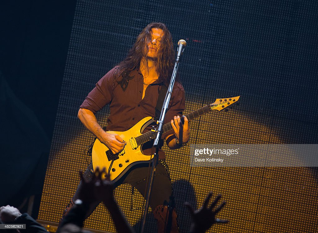 Guitarist Chris Broderick of Megadeth performs at The Wellmont Theatre on November 29, 2013 in Montclair, New Jersey.