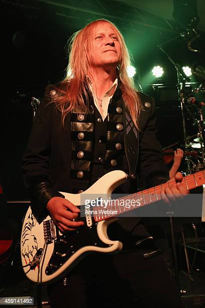 Guitarist Chris Caffery of TransSiberian Orchestra performs onstage during an exclusive performance at The iHeartRadio Theater in New York at...