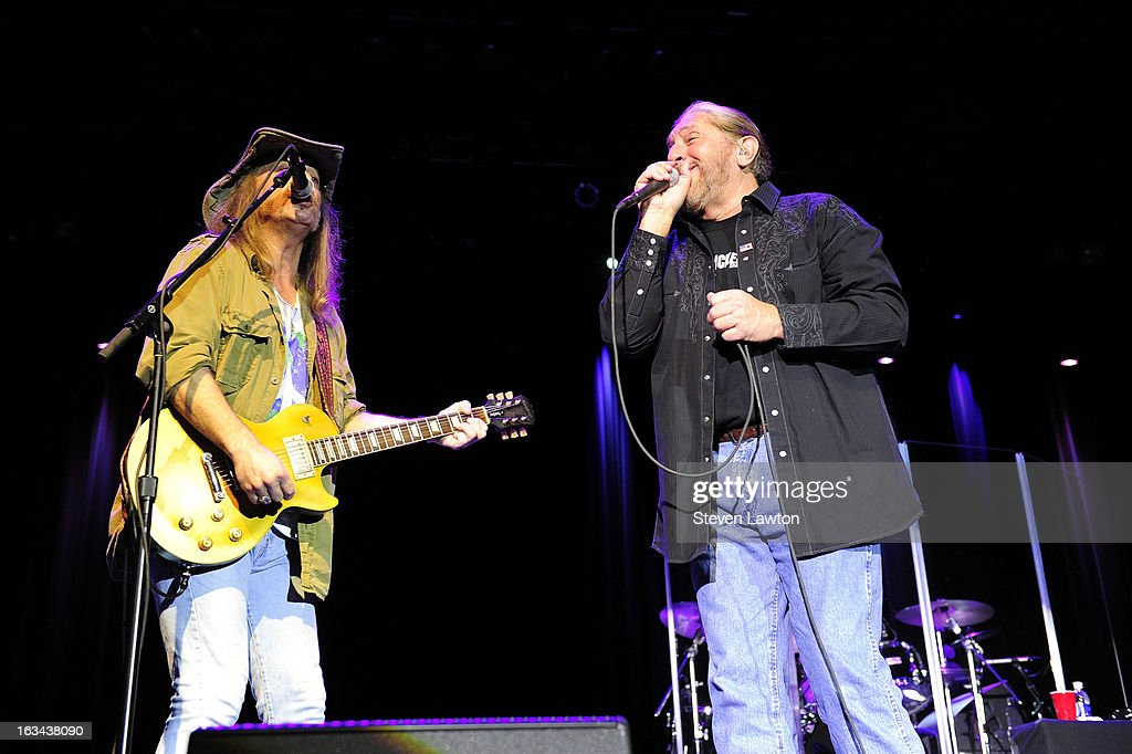 Guitarist Chris Hicks and lead singer Doug Gray of The Marshall Tucker Band perform at The Orleans Showroom at The Orleans Hotel & Casino on March 9, 2013 in Las Vegas, Nevada.