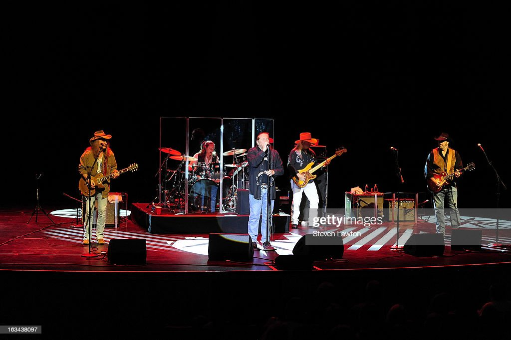 Guitarist Chris Hicks, drummer B.B. Borden, lead singer Doug Gray, bassist Pat Elwood and guitarist Rick Willis of The Marshall Tucker Band perform at The Orleans Showroom at The Orleans Hotel & Casino on March 9, 2013 in Las Vegas, Nevada.