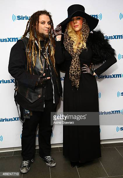 Guitarist Chris Howorth and singer Maria Brink of the metal band In This Moment visit the SiriusXM Studios on November 19 2014 in New York City