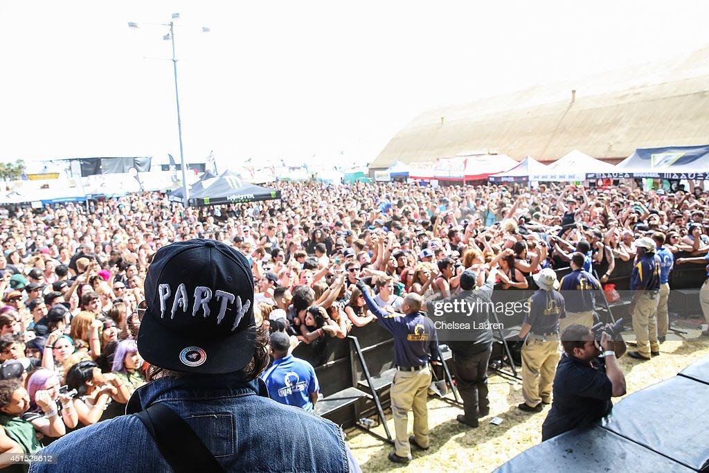 Guitarist Chris Linck of Attila performs during the Vans Warped Tour on June 22, 2014 in Ventura, California.