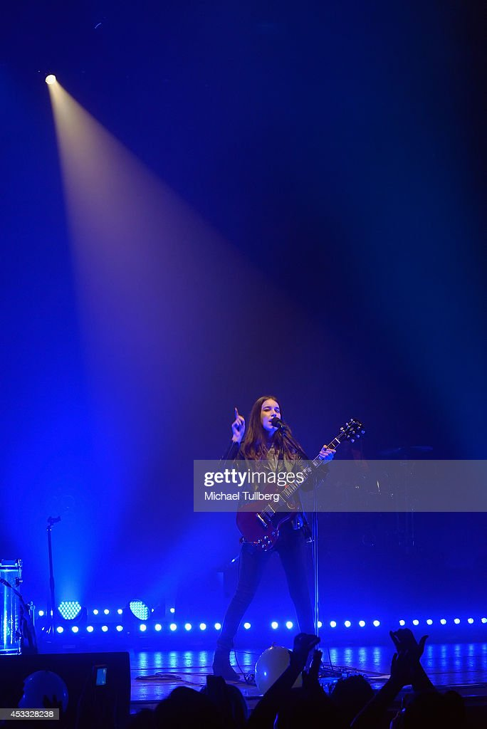 Guitarist Danielle Haim of the rock group HAIM performs at Wiltern Theatre on August 7, 2014 in Los Angeles, California.