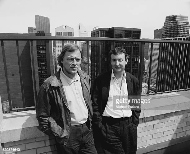 Guitarist Dave Gilmour and drummer Nick Mason of English rock group Pink Floyd New York May 1988
