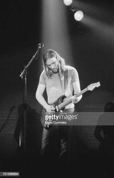 Guitarist Dave Gilmour of British band Pink Floyd performs on stage at the Bingley Hall in Stafford England on March 31 1977