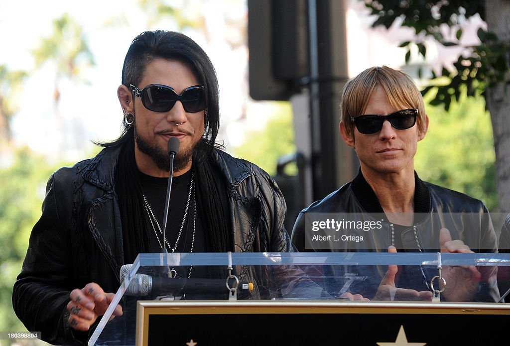 Guitarist Dave Navarro and bassist Chris Chaney at Jane's Addiction Star On The Hollywood Walk Of Fame Ceremoney on October 30, 2013 in Hollywood, California.
