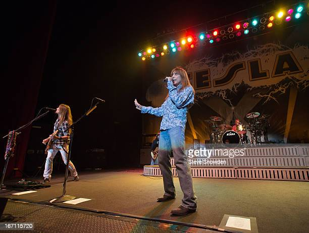 Guitarist Dave Rude vocalist Jeff Keith and drummer Troy Luccetta perform with Tesla at Route 66 Casino's Legends Theater on APRIL 20 2013 in...