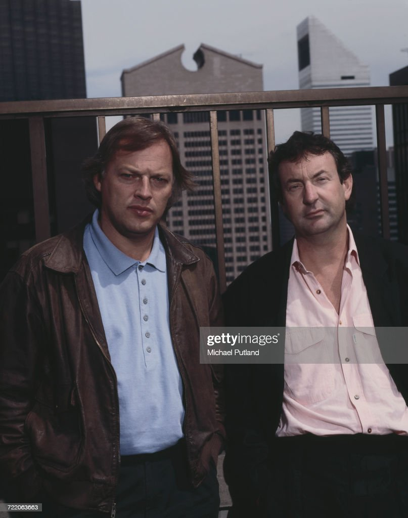 Guitarist David Gilmour (left) and drummer Nick Mason of English rock group Pink Floyd posed together on a roof top in New York, May 1988. The AT & T Building at 550 Madison Avenue can be seen behind.