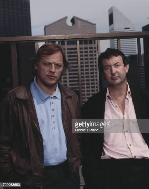 Guitarist David Gilmour and drummer Nick Mason of English rock group Pink Floyd posed together on a roof top in New York May 1988 The AT T Building...