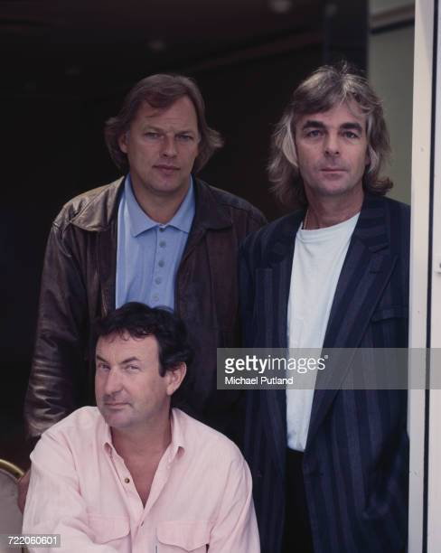 Guitarist David Gilmour keyboard player Richard Wright and drummer Nick Mason of English rock group Pink Floyd posed together in New York in May 1988