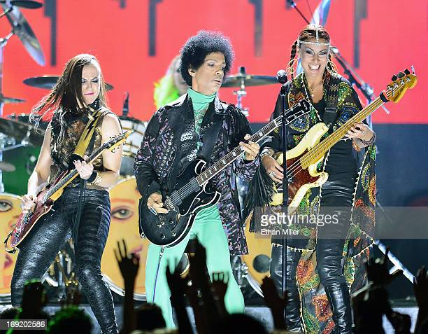 Guitarist Donna Grantis recording artist Prince and bassist Ida Nielsen perform onstage during the 2013 Billboard Music Awards at the MGM Grand...
