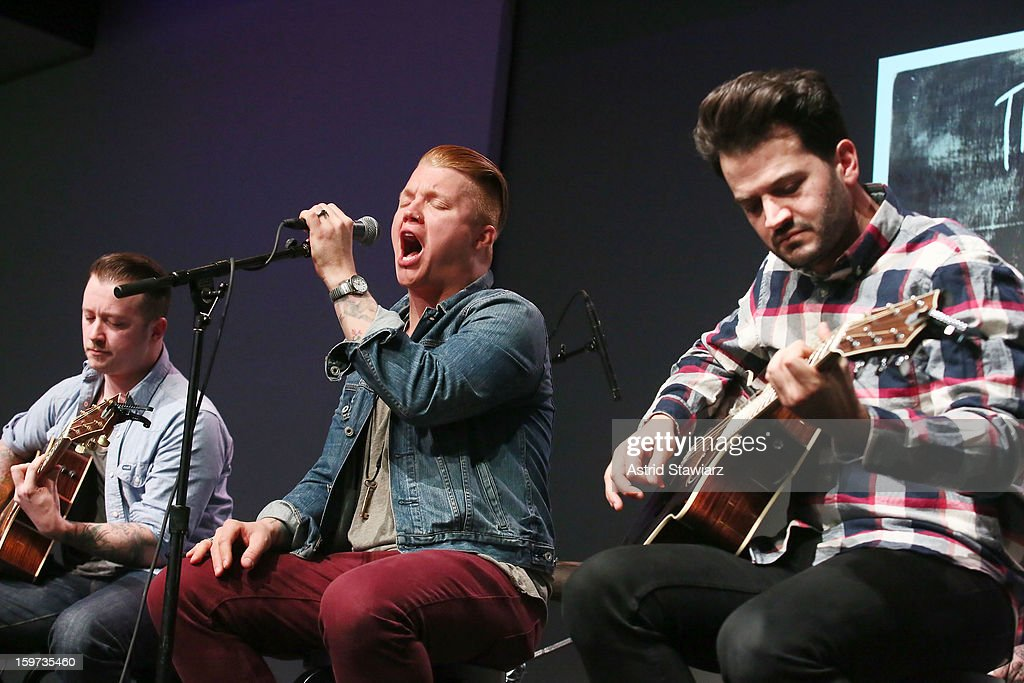 Guitarist Dusty Redmon, singer Aaron Gillespie and guitarist Jay Vilardi of The Almost perform during Apple Store Soho Presents: The Almost at Apple Store Soho on January 19, 2013 in New York City.