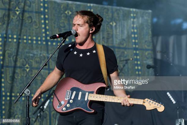 Guitarist Dylan Oglesby of Judah the Lion performs at Shoreline Amphitheatre on August 16 2017 in Mountain View California