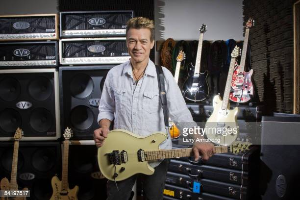 Guitarist Eddie Van Halen is photographed with his new guitar 'The Wolfgang' for USA Today