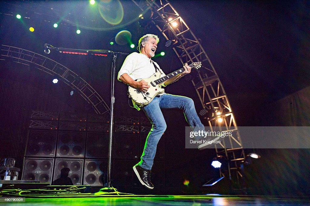 Guitarist Eddie Van Halen of Van Halen performs on stage at Sleep Train Amphitheatre on September 30, 2015 in Chula Vista, California.