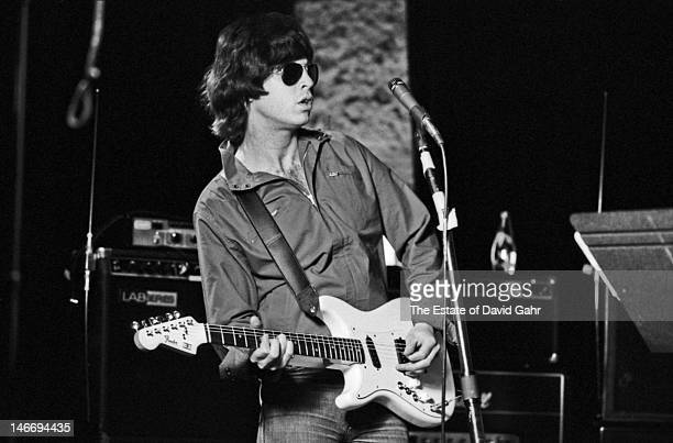 Guitarist Elliot Easton of the rock group The Cars plays guitar in March 1980 during a recording session in Boston Massachusetts