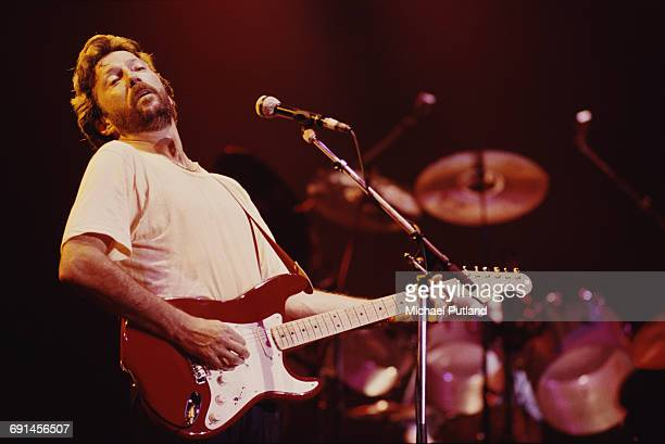 Guitarist Eric Clapton performing on stage 1986