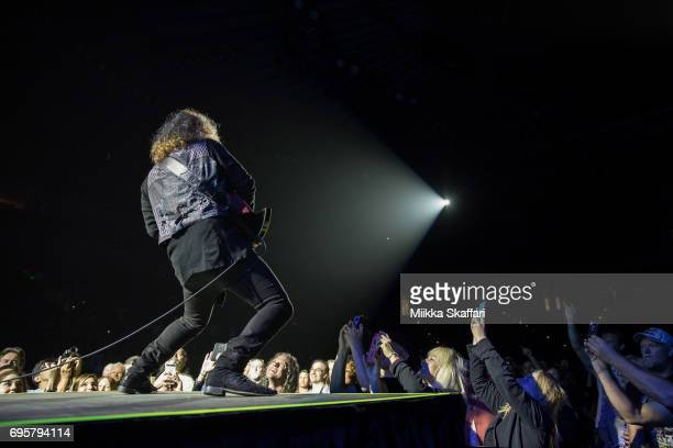 Guitarist Frank Hannon of Tesla performs at ORACLE Arena on June 13 2017 in Oakland California