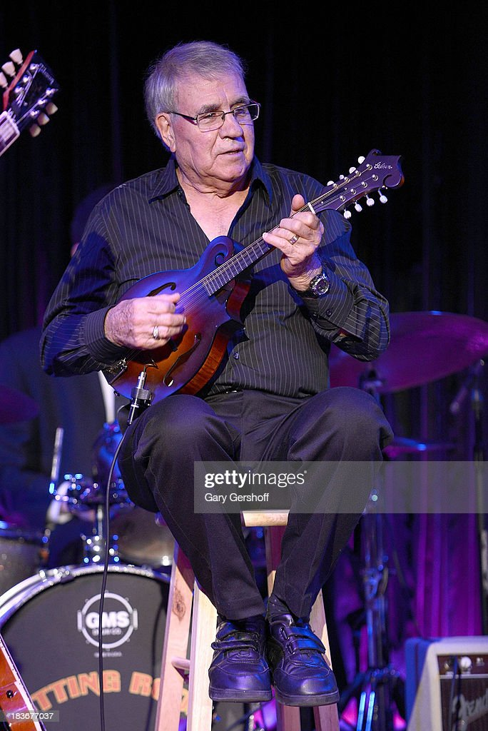 Guitarist Garry Johnson, father of Lisa Johnson performs on stage for the book launch of '108 Rock Star Guitars' benefitting The Les Paul Foundation at The Cutting Room on October 8, 2013 in New York City.