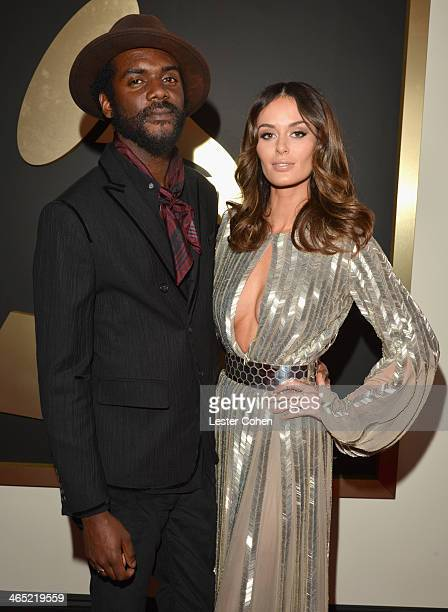 Guitarist Gary Clark Jr and model Nicole Trunfio attend the 56th GRAMMY Awards at Staples Center on January 26 2014 in Los Angeles California