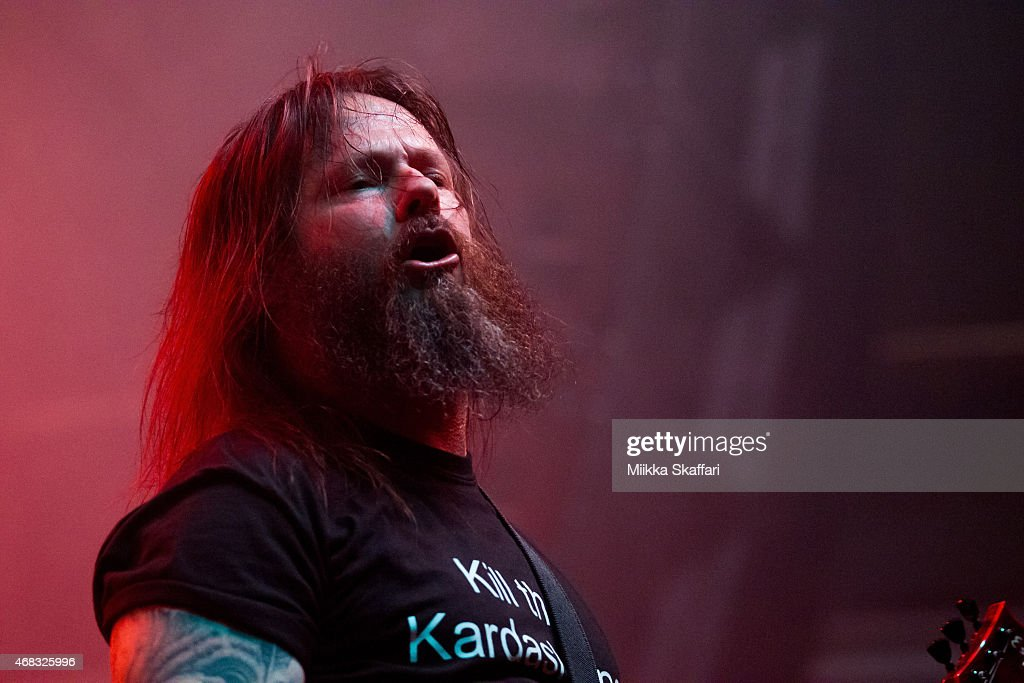 Guitarist <a gi-track='captionPersonalityLinkClicked' href=/galleries/search?phrase=Gary+Holt+-+Musician&family=editorial&specificpeople=15005307 ng-click='$event.stopPropagation()'>Gary Holt</a> and vicalist Steve 'Zetro' Souza of Exodus perform at Grand Regency Ballroom on April 1, 2015 in San Francisco, California.