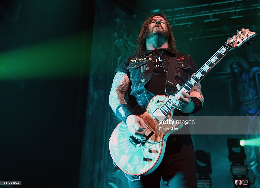 Guitarist <a gi-track='captionPersonalityLinkClicked' href=/galleries/search?phrase=Gary+Holt+-+Musician&family=editorial&specificpeople=15005307 ng-click='$event.stopPropagation()'>Gary Holt</a> of Slayer performs at The Joint inside the Hard Rock Hotel & Casino on March 26, 2016 in Las Vegas, Nevada.