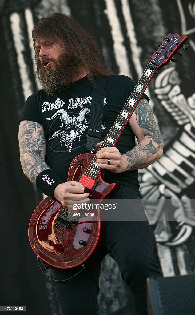 Guitarist <a gi-track='captionPersonalityLinkClicked' href=/galleries/search?phrase=Gary+Holt+-+Musician&family=editorial&specificpeople=15005307 ng-click='$event.stopPropagation()'>Gary Holt</a> of Slayer performs during day 2 of the Carolina Rebellion at Charlotte Motor Speedway on May 3, 2015 in Charlotte, North Carolina.