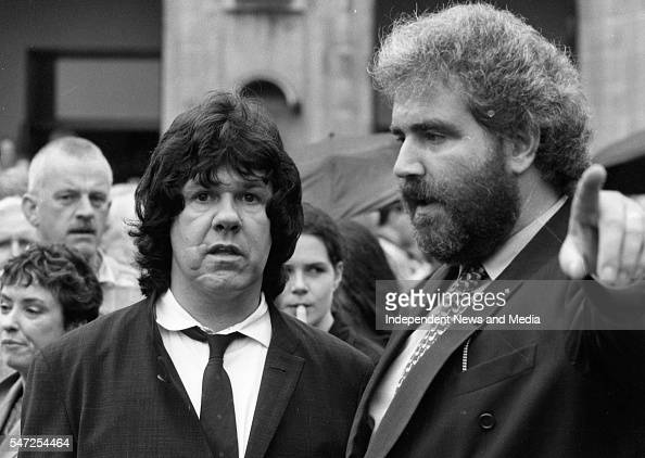 Guitarist Gary Moore left and Chris Roche publicist attended the funeral of Rory Gallagher in Cork 695433e