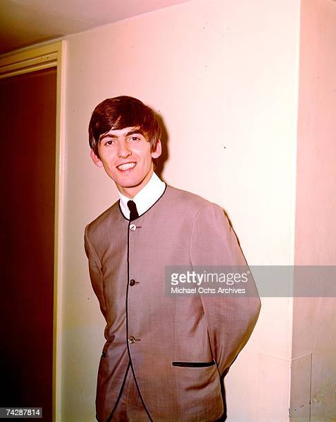 Guitarist George Harrison of the rock and roll band 'The Beatles' poses for a portrait in 1964 in London England