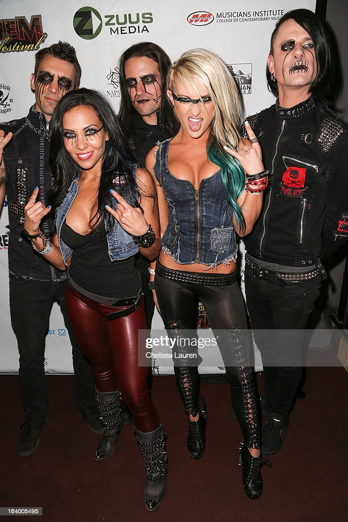 Guitarist Henry Flury, vocalist Carla Harvey, bassist Jason Klein, vocalist Heidi Shepherd and drummer Chrissy Warner of Butcher Babies attend the 6th annual Rockstar energy drink Mayhem festival press conference at The Whiskey A Go Go on March 18, 2013 in West Hollywood, California.