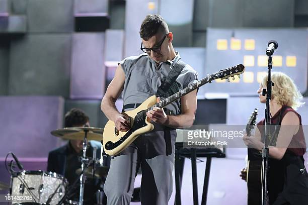 Guitarist Jack Antonoff of Fun performs onstage during the 55th Annual GRAMMY Awards at STAPLES Center on February 10 2013 in Los Angeles California