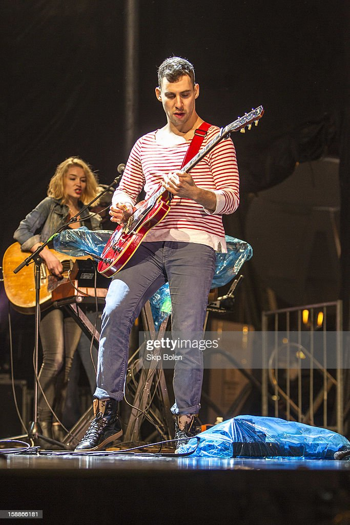 Guitarist <a gi-track='captionPersonalityLinkClicked' href=/galleries/search?phrase=Jack+Antonoff&family=editorial&specificpeople=2565373 ng-click='$event.stopPropagation()'>Jack Antonoff</a> of the indie rock band fun. performs during the 2013 Allstate fan fest at the Allstate Sugar Bowl in the Jax Brewery Parking Lot on January 1, 2013 in New Orleans, Louisiana.