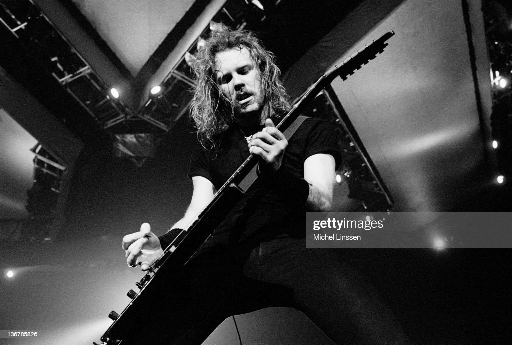 Guitarist <a gi-track='captionPersonalityLinkClicked' href=/galleries/search?phrase=James+Hetfield&family=editorial&specificpeople=178297 ng-click='$event.stopPropagation()'>James Hetfield</a> from American Heavy Metal band Metallica performs live on stage in the Netherlands circa 1992.