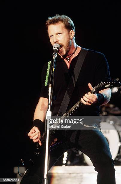 Guitarist James Hetfield of Metallica plays guitar at the Lollapalooza festival