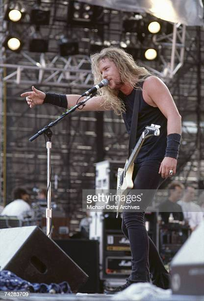 Guitarist James Hetfield of the heavy metal quartet 'Metallica' performs onstage at the 'Monsters of Rock' festival at Rice Stadium on July 2 1988 in...