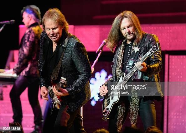 Guitarist James Young and bassist Ricky Phillips of Styx perform at The Pearl concert theater at Palms Casino Resortt on January 16 2016 in Las Vegas...