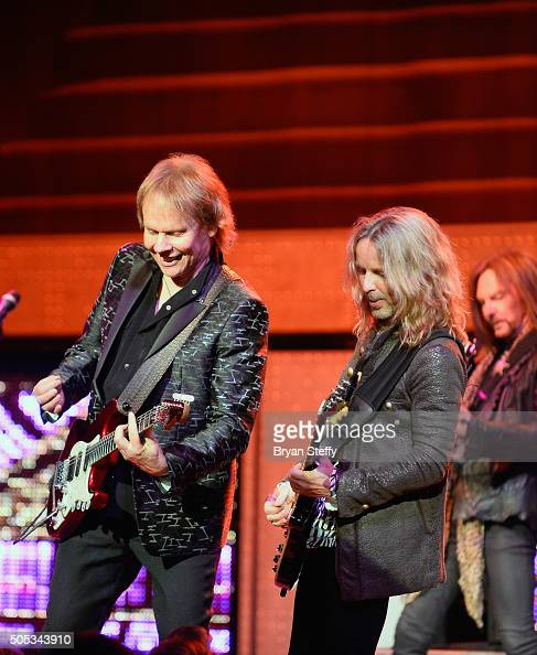 Guitarist James Young and guitarist Tommy Shaw of Styx perform at The Pearl concert theater at Palms Casino Resort on January 16 2016 in Las Vegas...