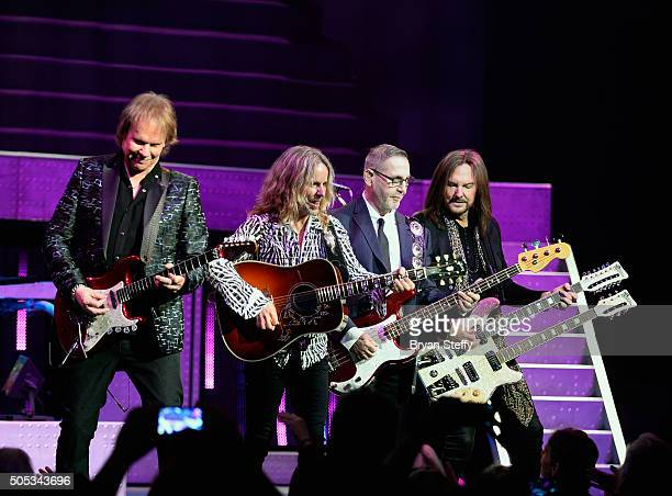Guitarist James Young guitarist Tommy Shaw bassist Chuck Panozzo and bassist Ricky Phillips of Styx perform at The Pearl concert theater at Palms...