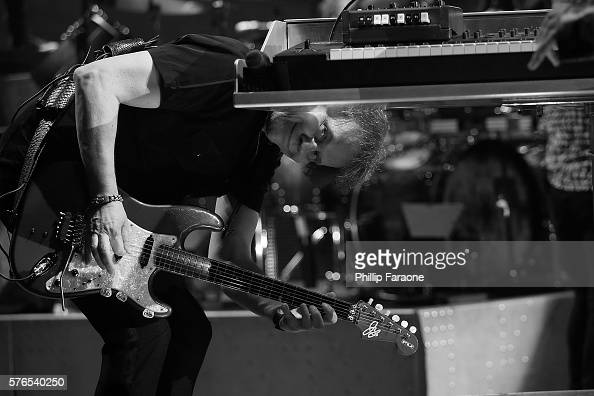 Image has been converted to black and white COSTA MESA CA JULY 15 Guitarist James Young of the band Styx performs at the Pacific Amphitheatre at...