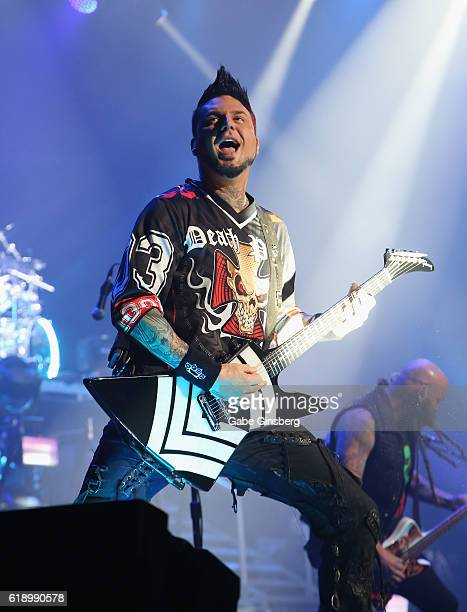 Guitarist Jason Hook of Five Finger Death Punch performs at TMobile Arena on October 28 2016 in Las Vegas Nevada