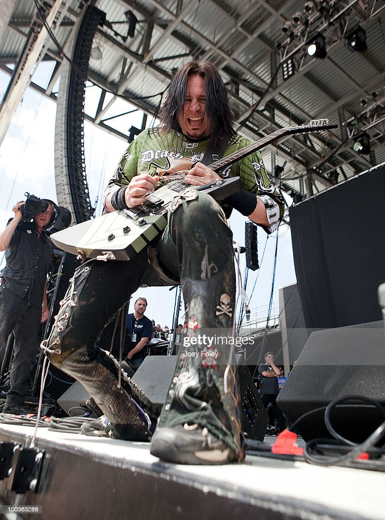 Guitarist Jason Hook of Five Finger Death Punch performs during the 2010 Rock On The Range festival at Crew Stadium on May 23, 2010 in Columbus, Ohio.