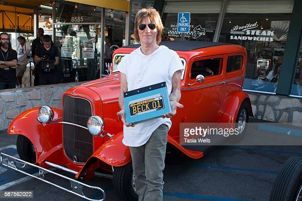 Guitarist Jeff Beck arrives at the Jeff Beck fan meet and greet in celebration of new book 'BECK01' at Mel's Drive In on August 8 2016 in West...