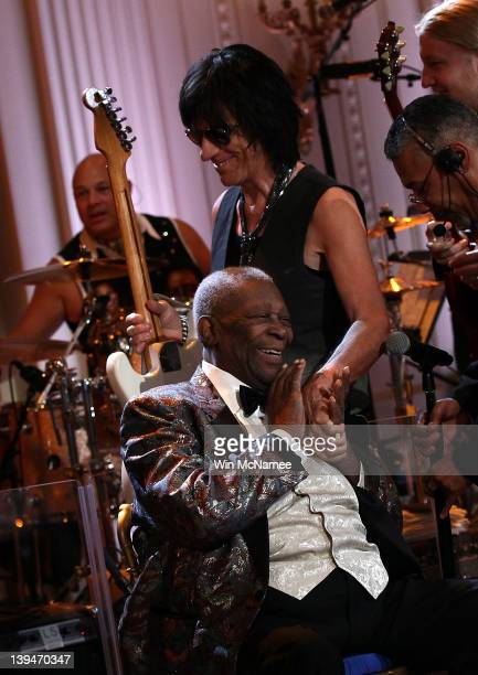 Guitarist Jeff Beck greets Blues legend BB King at a performance with an allstar cast at a White House event titled In Performance at the White House...