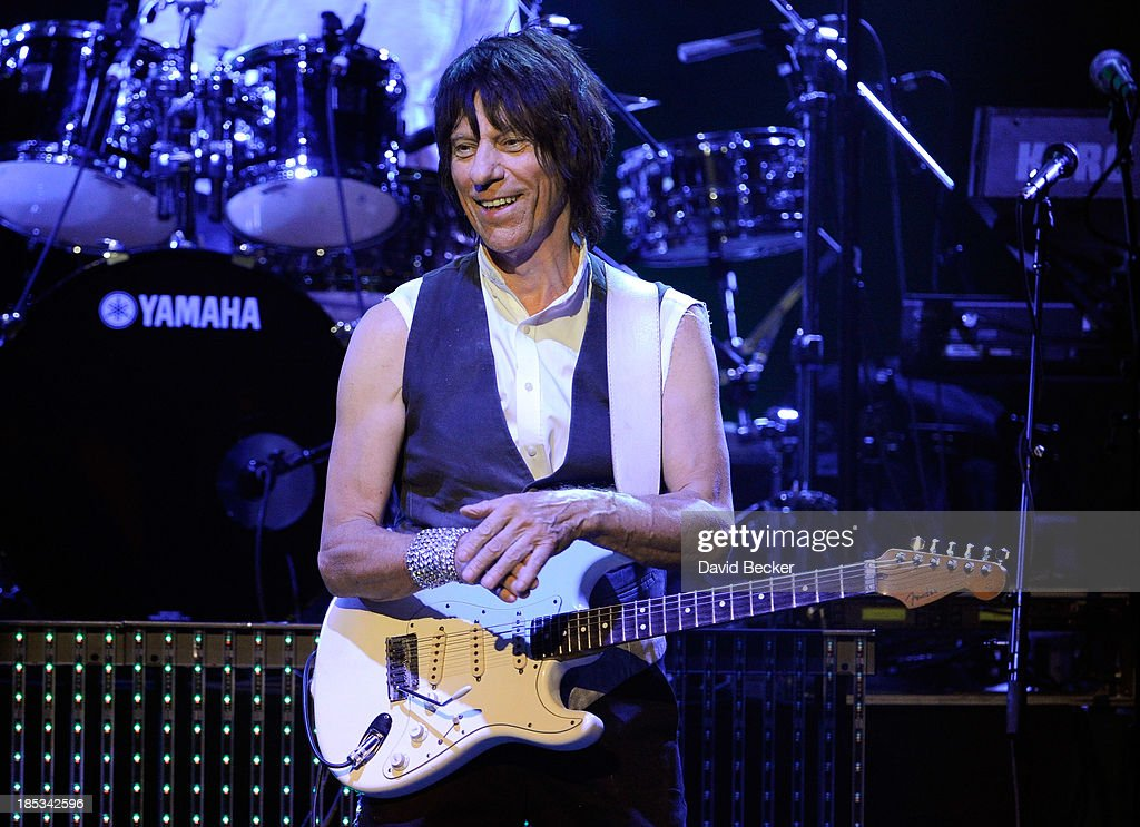 Guitarist <a gi-track='captionPersonalityLinkClicked' href=/galleries/search?phrase=Jeff+Beck&family=editorial&specificpeople=213341 ng-click='$event.stopPropagation()'>Jeff Beck</a> performs at The Pearl concert theater at the Palms Casino Resort on October 18, 2013 in Las Vegas, Nevada.