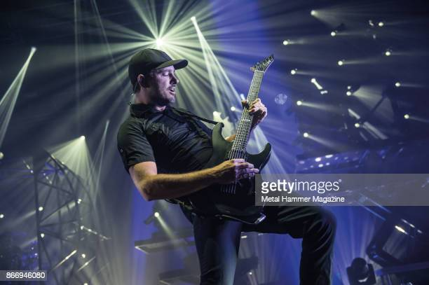 Guitarist Jeff Ling of Australian metalcore group Parkway Drive performing live on stage at the O2 Academy Brixton in London on April 8 2017