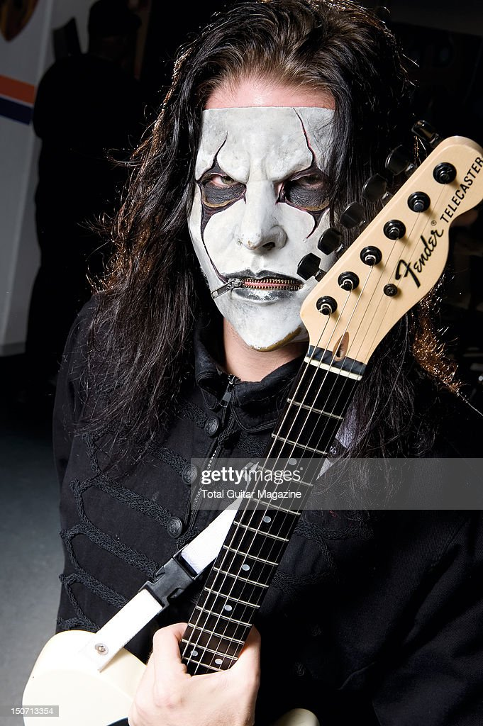 Guitarist Jim Root of American heavy metal group Slipknot posing with his signature Fender Telecaster guitar, taken on November 8, 2008.