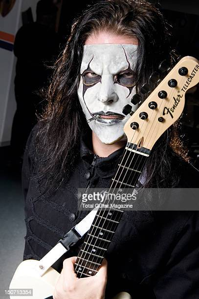 Guitarist Jim Root of American heavy metal group Slipknot posing with his signature Fender Telecaster guitar taken on November 8 2008